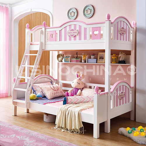 JLX-3957 bedroom modern solid wood frame fashion double bed children bed