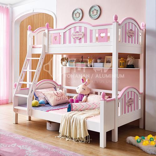 JLX-3957 bedroom modern solid wood frame fashion double bed children bed