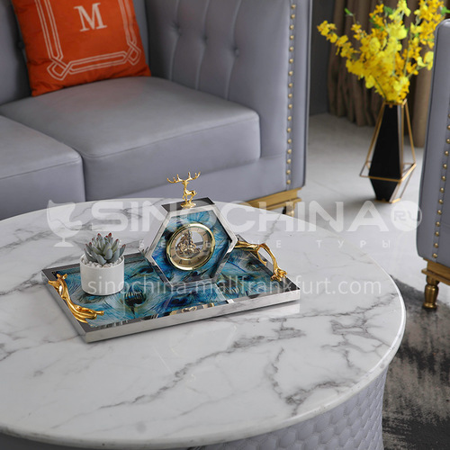 American hexagonal bedside table creative personality desk clock tabletop decoration stainless steel retro decoration 548