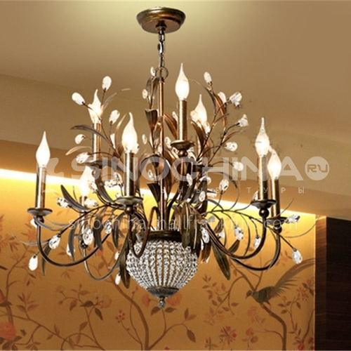 American chandelier creative lamps personality iron art living room lamp dining room lamp country retro crystal lamp-WX-D9079
