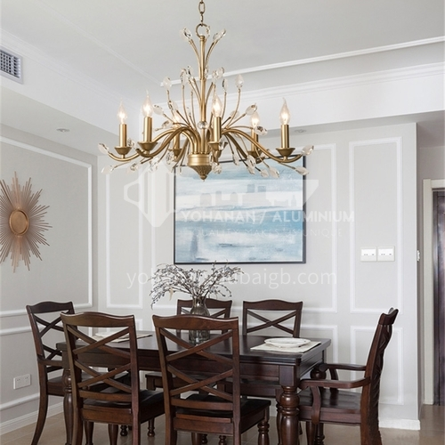 American chandelier living room dining room light creative personality simple bedroom light French luxury crystal light-WX-D9170