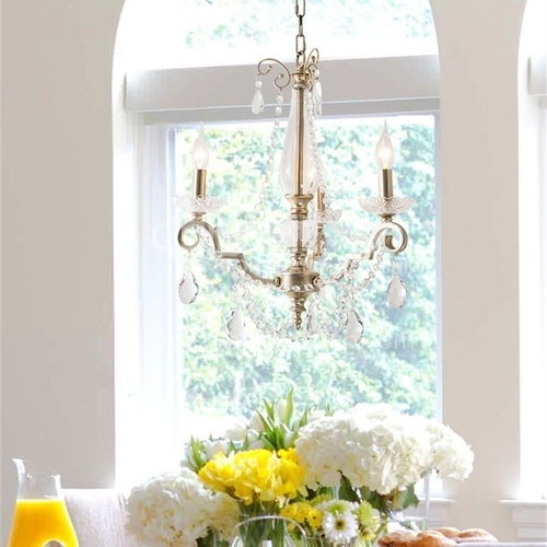 American chandelier living room dining room lamp bedroom creative coffee shop chandelier retro silver candle French crystal lamp-WX-9355