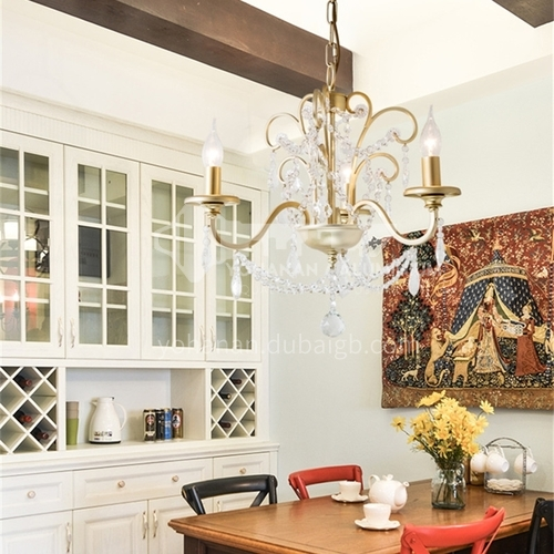 American chandelier living room dining room lamp bedroom pastoral wrought iron champagne gold creative chandelier art crystal chandelier WX-D9288