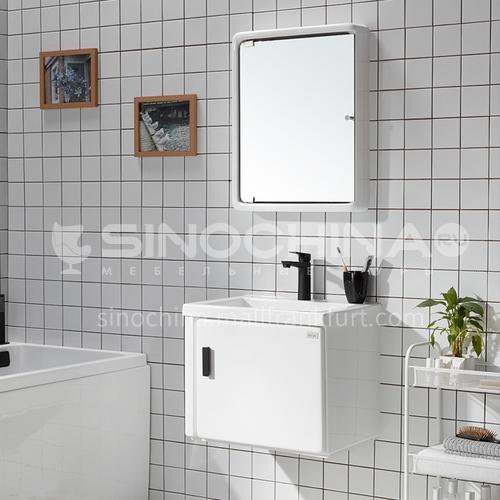 Modern small bathroom wall mounted vanity mirror furniture cabinet white wash basinJN2201