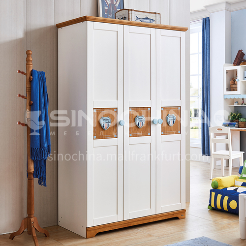 JLX-3359- Nordic solid wood childrens wardrobe, storage wardrobe, childrens bedroom furniture, 3-door wardrobe