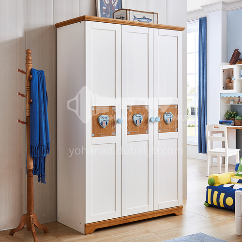 JLX-3359- Nordic solid wood childrens wardrobe, storage wardrobe, childrens bedroom furniture, 3-door wardrobe