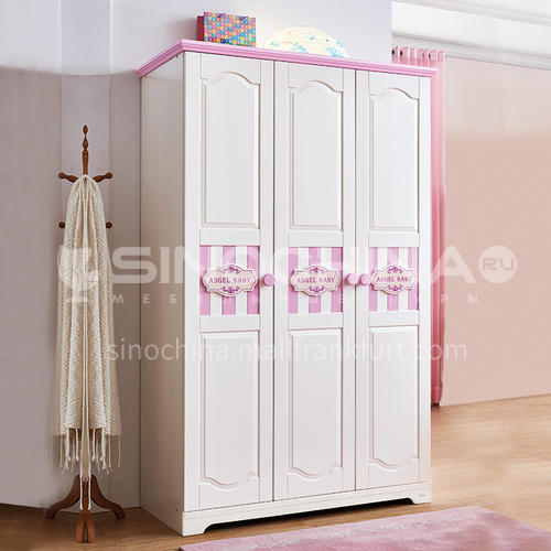 JLX-3360- Childrens solid wood three-door wardrobe, simple pink princess wardrobe, storage cabinet, combined three-door wardrobe