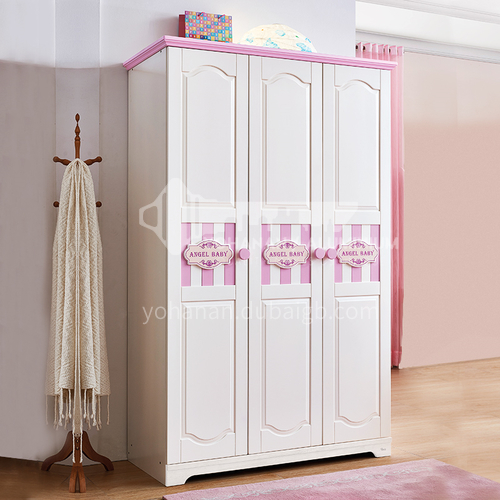 JLX-3360- Childrens solid wood three-door wardrobe, simple pink princess wardrobe, storage cabinet, combined three-door wardrobe