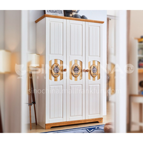 JLX-3361- Childrens solid wood 3-door wardrobe, Nordic wardrobe, 3-door large-capacity storage cabinet, storage closet
