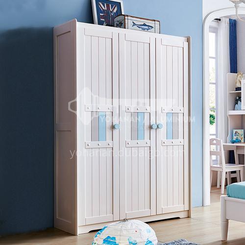 JLX-3380- Nordic solid wood three-door wardrobe, storage storage cabinet, 3-door wardrobe, modern and simple childrens 3-door cabinet