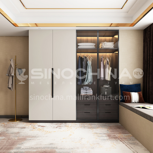 melamine with particle board open tempered glass door wardrobe-GW-262