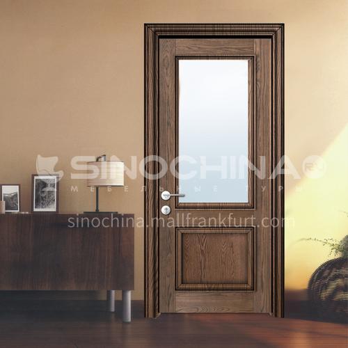 North American walnut log solid wood toilet kitchen glass door1