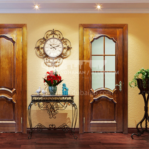 North American walnut solid wood log car carved glass carved door with door Roman column3