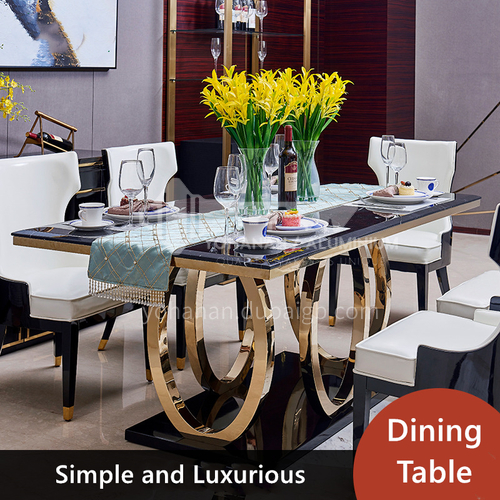 Dining table and chairs in stainless steel marble top, modern minimalist and black rectangular furniture.