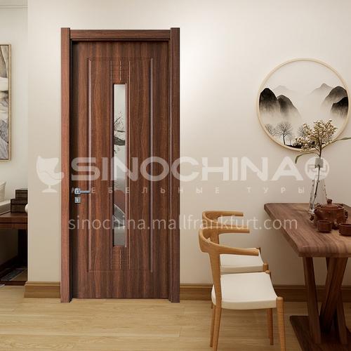 Hot sale indoor office composite natural wood leather door French indoor bathroom kitchen flat glass door5