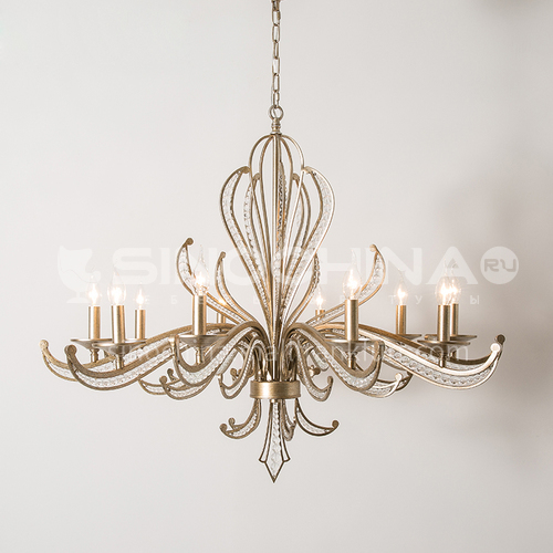 American country chandelier living room chandelier restaurant creative crystal personality retro silver wrought iron lamp-WX-D9100