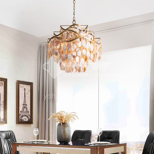 American country chandelier dining room lamp creative shell simple bedroom crystal lamp living room chandelier-WX-9306