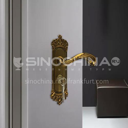 B Aluminum alloy high-grade yellow bronze door lock wooden door wood plastic door lock set 10