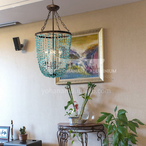 American country bedroom dining room retro villa wrought iron turquoise chandelier-WX-D9096