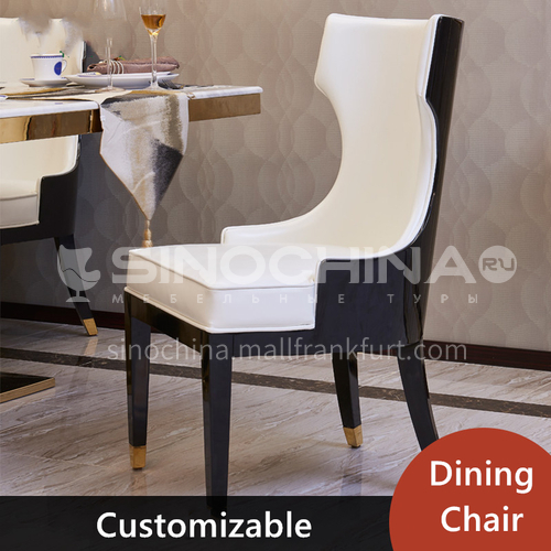 Light luxury dining chair leather art soft package dining chair home