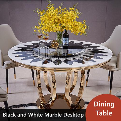 Italian light luxury round dining table stainless steel marble parquet restaurant