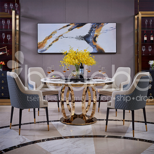 Italian Light Luxury Round Dining Table, Luxury Round Table