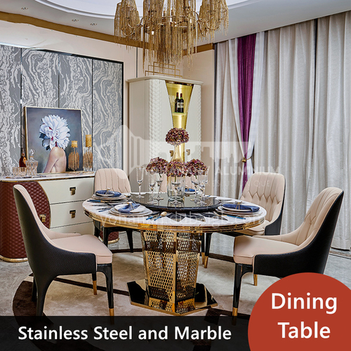 stainless steel luxury post-modern natural marble dining table round counter top large round table  furniture