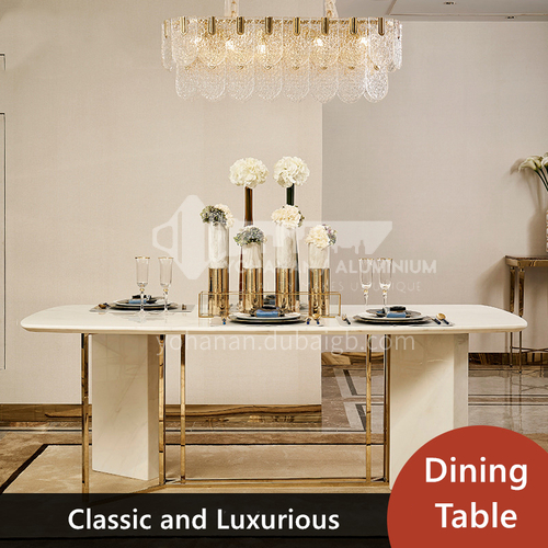 Postmodern style white marble dining table with rectangular round corner stainless steel furniture
