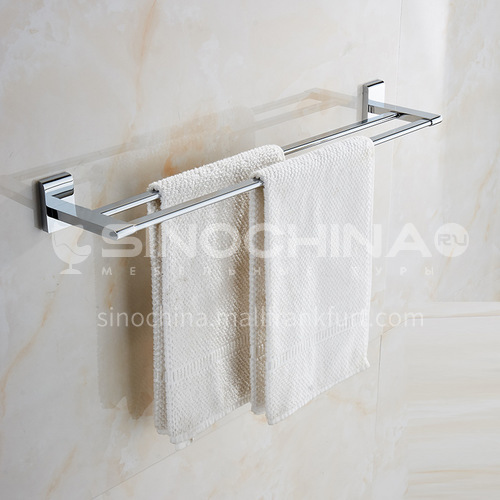 Bathroom silver twin towel bar