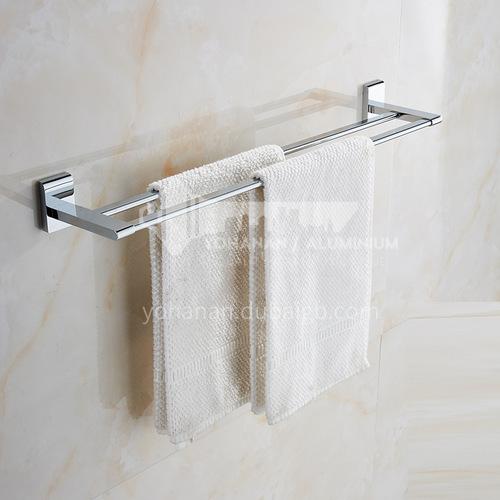 Bathroom silver twin towel bar