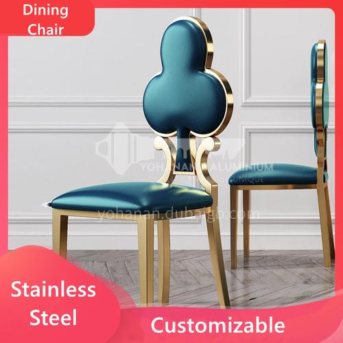 Stainless Steel Luxury Modern Home  Plum Shape Restaurant Leather Chair