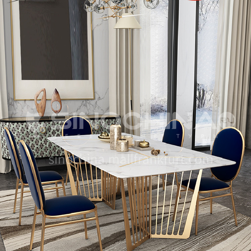 Luxury Stainless Steel Marble Rectangular Dining Table