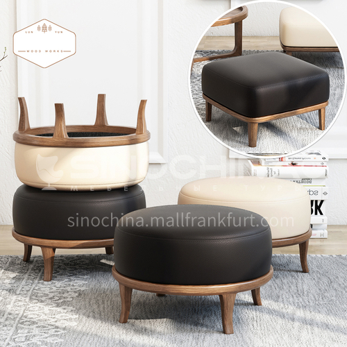 CL-W6006+DA102 Living room shape round and square ash wood simulation leather leisure stool