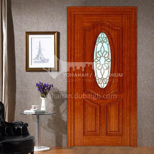 American red oak solid wood door three-dimensional carved glass door21