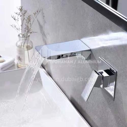 Hidden wall-mounted chrome waterfall washbasin faucet fc002