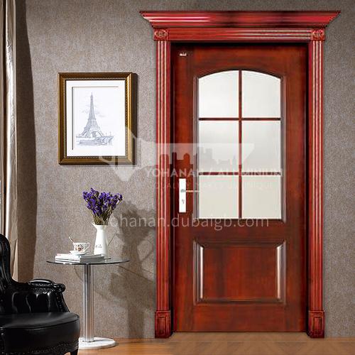Congo Sapele original wooden door Interior three-dimensional carved door original wooden glass door with door head Roman column 24