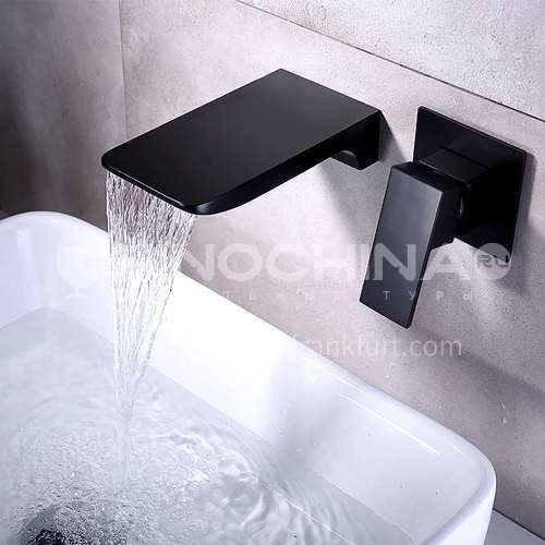 Black in-wall concealed hot and cold dual-control waterfall washbasin faucet FCI001