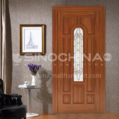Oak solid wood door three-dimensional carved room door with craft glass30