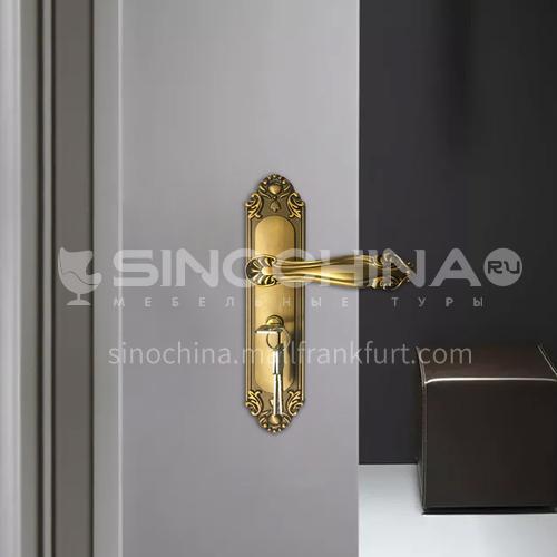 B European style yellow bronze solid wood front door handle room door key door lock 50