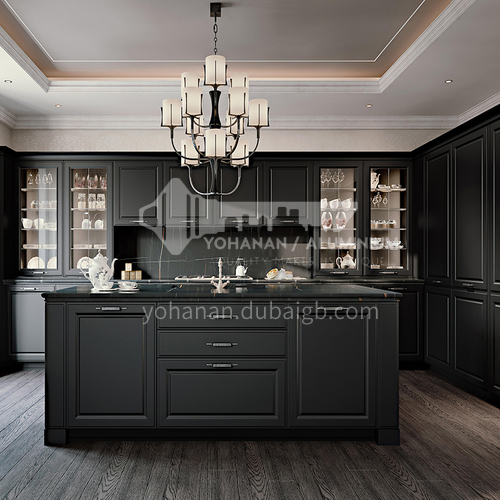 American style solidwood PVC with HDF Kitchen cabinet GK-539