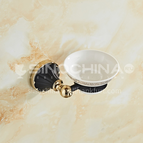 European classical stainless steel gun black gold-plated soap dish80303