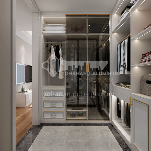 European style wardrobe classical glass door melamine with particle board wardrobe-GW-057