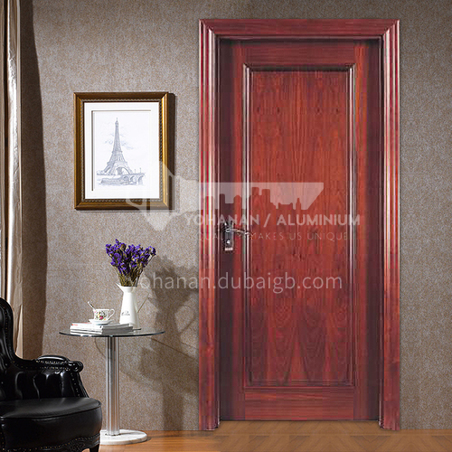 American red oak solid wood door simple three-dimensional carving style52