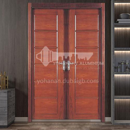 Indonesia pineapple grid log solid wood door double door outdoor wooden door 1