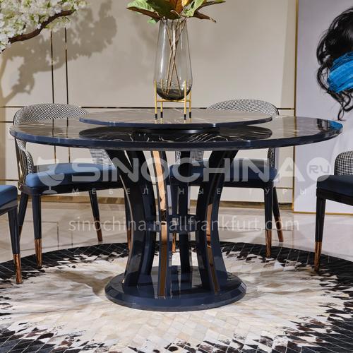 BJ-Bagade-M601 Restaurant Postmodern Light Luxury High-end Gold Ebony Metal Edge Light Luxury Dining Table