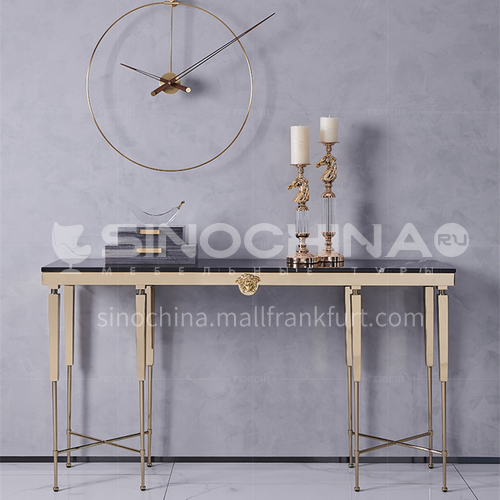 BJ-M601 Light luxury entrance hallway with marble countertop and metal tripod