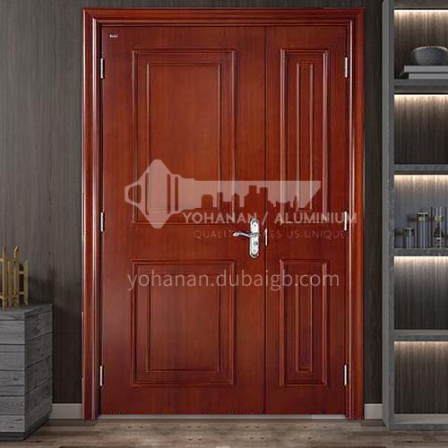 American red oak log solid wood double door outdoor wooden door 4
