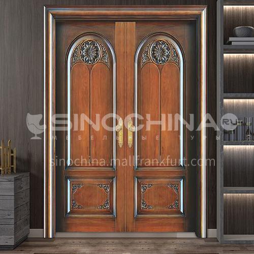 Indonesia pineapple grid log door solid wood double door carved door outdoor wooden door 5