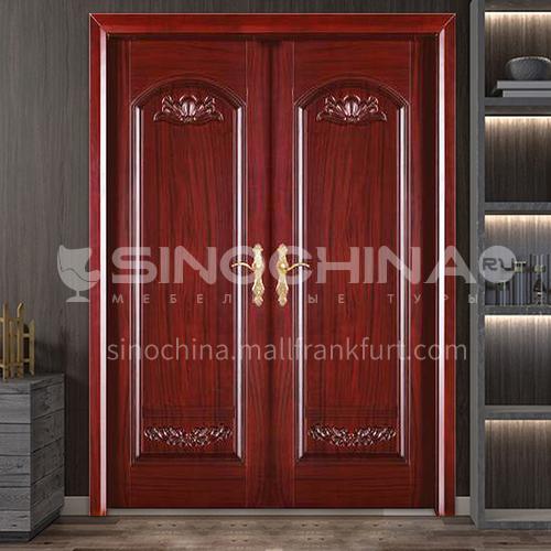 Indonesian pineapple grid log door Solid wood double door outdoor wooden door 6