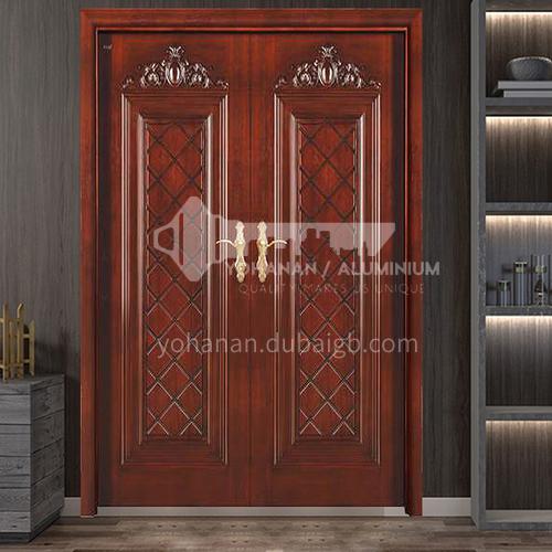 Indonesia pineapple grid log door solid wood double door outdoor wooden door 7